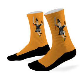 Softball Printed Mid Calf Socks Softball Player Pilgrim