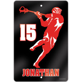 """Lacrosse Aluminum Room Sign (18""""x12"""") Personalized Jump Shot Silhouette"""