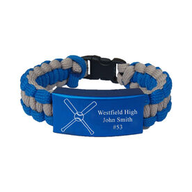 Crossed Baseball Bats Paracord Engraved Bracelet - 3 Lines/Blue