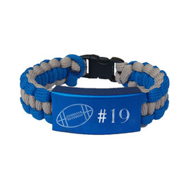 Football Paracord Engraved Bracelet - Football Ball with 1 Line/Blue