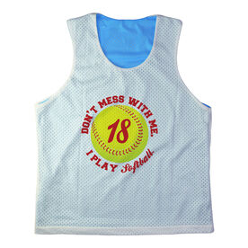 Girls Softball Racerback Pinnie Personalized Don't Mess With Me I Play Softball with Number