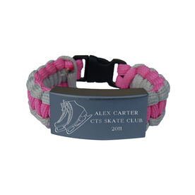 Figure Skating Paracord Engraved Bracelet - 3 Lines/Pink