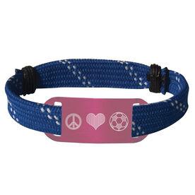 Soccer Lace Bracelet Peace Love Soccer Adjustable Sport Lace Bracelet