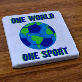 Soccer Stone Coaster One World One Sport