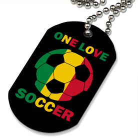 One Love Soccer Printed Dog Tag Necklace
