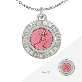 Runner's Creed Pendant Necklace - 1.5cm Pink/White