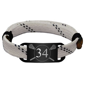 Personalized Guys Lacrosse Lace Bracelet Number with Crossed Sticks Adjustable Sport Bracelet
