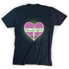 Tennis Tshirt Short Sleeve Tennis Girl with Racket Heart