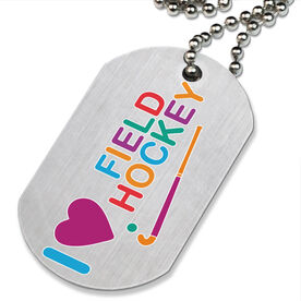 I Love Field Hockey Printed Dog Tag Necklace