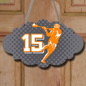 Lacrosse Cloud Room Sign Personalized Lacrosse Guy with Dots Background