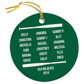 Softball Porcelain Ornament Personalized Team Roster