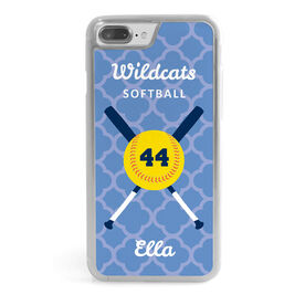 Softball iPhone® Case - Personalized With Quatrefoil Pattern