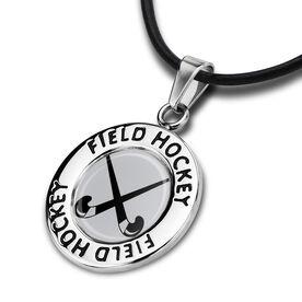 Field Hockey Circle Necklace Crossed Sticks