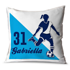 Soccer Throw Pillow Personalized Soccer Player Silhouette Girl