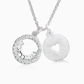 Livia Collection Sterling Silver and Cubic Zirconia Softball Love Necklace