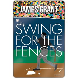 "Baseball Aluminum Room Sign (18""x12"") Swing For The Fences"
