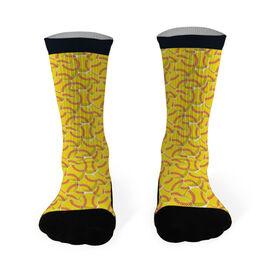 Softball Printed Mid Calf Socks Softballs All Over