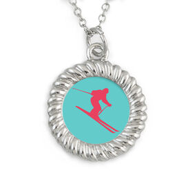 Skiing Braided Circle Necklace Downhill Skier Silhouette