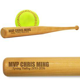 Softball Mini Engraved Bat MVP
