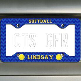 Softball License Plate Frame Personalized Softballs with Chevron Pattern