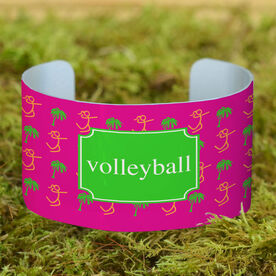 Volleyball Cuff Bracelet (Wide) Palm Tree Volleyball