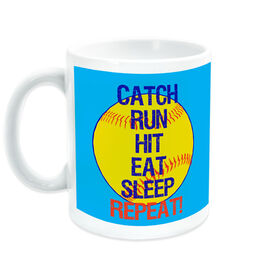 Softball Ceramic Mug Catch Run Hit Eat Sleep Repeat