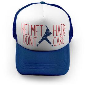 Softball Trucker Hat - Helmet Hair Don't Care