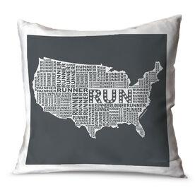 Running Throw Pillow USA Runner