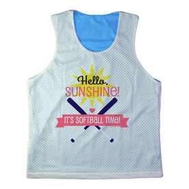 Girls Softball Racerback Pinnie Personalized Hello Sunshine It's Softball Time Coral