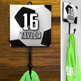 Soccer Hook Personalized Big Number with Soccer Ball