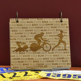 Engraved Bamboo Wood BibFOLIO Swim Bike Run Repeat Guys