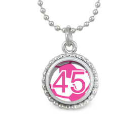 Pink Soccer Ball Your Number SportSNAPS Necklace