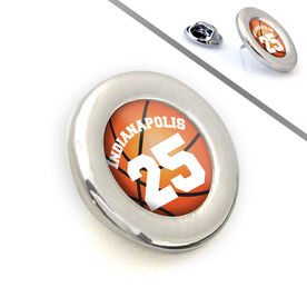 Basketball Lapel Pin Team Name and Number Grip Basketball