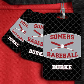 Baseball Bag/Luggage Tag Personalized Baseball Team with Crossed Bats