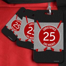 Hockey Bag/Luggage Tag Personalized Hockey Word Pattern with Crossed Sticks
