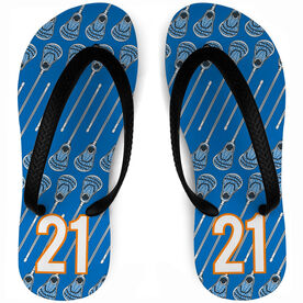 Guys Lacrosse Flip Flops Personalized Stick Pattern With Number