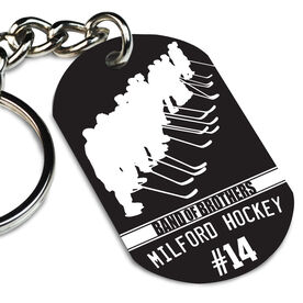 Hockey Printed Dog Tag Keychain Personalized Band of Brothers