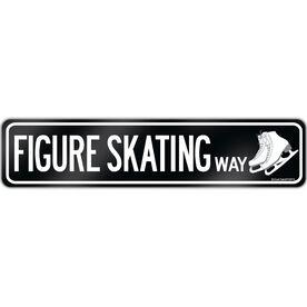 "Figure Skating Aluminum Room Sign Figure Skating Way (4""x18"")"