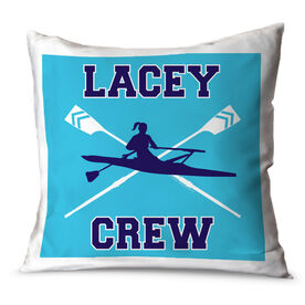 Crew Throw Pillow Personalized Crew With Crossed Oars And Girl Rower