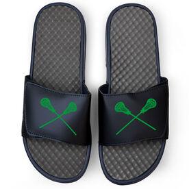 Guys Lacrosse Navy Slide Sandals - Crossed Sticks