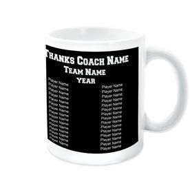 Softball Ceramic Mug Thanks Coach Custom Photo With Team Roster