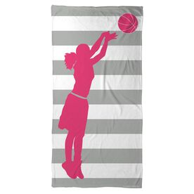 Basketball Beach Towel Stripes with Girl Silhouette