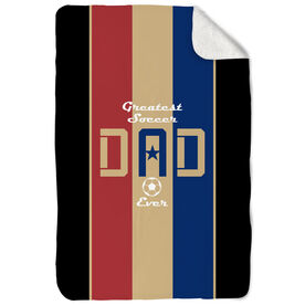 Soccer Sherpa Fleece Blanket - Greatest Dad Stripes