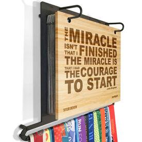 Engraved Bamboo BibFOLIO Plus Race Bib and Medal Display The Miracle
