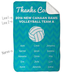 Volleyball Sherpa Fleece Blanket Personalized Thanks Coach Chevron