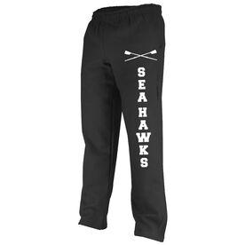 Crew Fleece Sweatpants Team Name With Crossed Oars