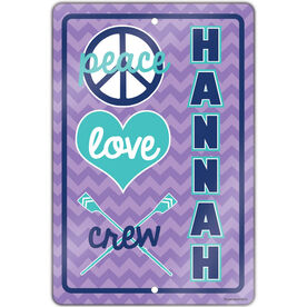 "Crew 18"" X 12"" Aluminum Room Sign Personalized Peace Love Crew Chevron"