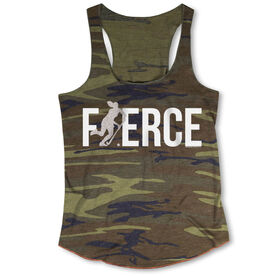 Field Hockey Camouflage Racerback Tank Top - Fierce Field Hockey Girl with Silver Glitter