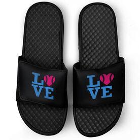Softball Black Slide Sandals - LOVE