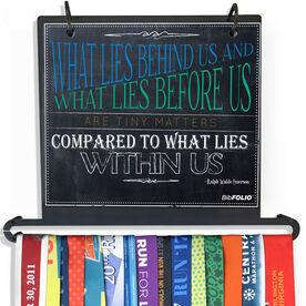 BibFOLIO Plus Race Bib and Medal Display Chalkboard What Lies Behind Us